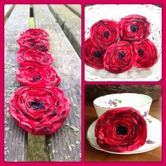 Fabric poppy brooches from fatpoppycat