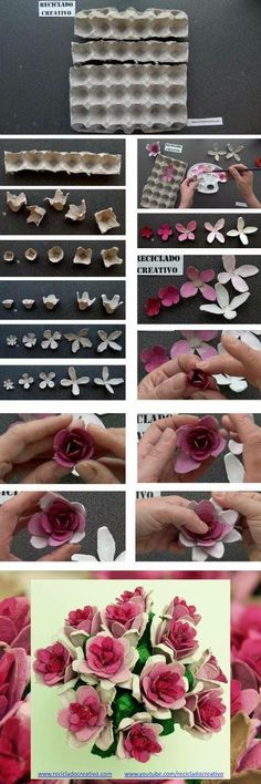How to make flowers with cardboard egg cups - DIY - Manualidades - Paso a paso - Reciclado - Infographics - Esquemas - How To - Recycling, Crafts - Kids Crafts, Diy And Crafts, Craft Projects, Arts And Crafts, Easy Crafts, Flower Crafts, Diy Flowers, Paper Flowers, Flowers Bunch
