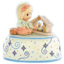 Precious Moments Christmas Gifts & Figurines: Girl Admiring Nativity - Musical Figurine