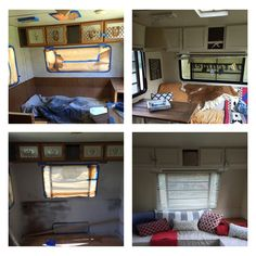 Before and Afters of our camper makeover. 1996 Dutchman- bought for $2500 put $150 bucks into it and wala! Transformation!