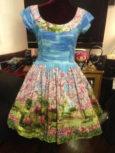 """Never worn Bernie Dexter Fifi Dress CherryTree, size Large. Has been altered in the shoulders so they don't fall off and the bows are removed, but I have them. WAY too small in the bust for me, so gorgeous. Will sell for $166 (what I paid) + shipping. Measurements (taken flat): 18.5"""" bust, 16"""" waist."""