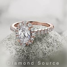 Rose gold oval diamond halo engagement ring. Wedding ring. Beautiful. Halo Engagement, Diamond Engagement Rings, Diamond Jewelry, Gold Jewelry, Oval Diamond, Wholesale Jewelry, Jewelry Gifts, Wedding Rings, Rose Gold