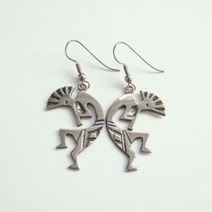 Southwestern Tribal Kokopelli Kachina Dancer Pierced Earrings Sterling Silver Spirit of Music Boho Bohemian Gypsy Hippie by redroselady on Etsy