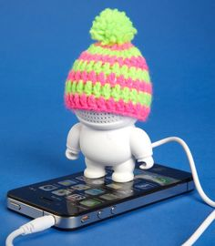 speaker bot, with individual beanies