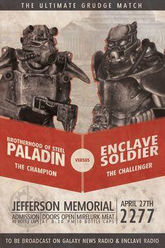 Fallout Custom Poster: BoS VS. Enclave Boxing by MattTheKid.deviantart.com on @DeviantArt