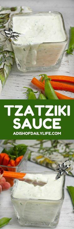 Tzatziki Sauce ~ is a tangy yogurt cucumber dip, made with garlic, lemon and dill. Perfect as a dip for vegetables and a lovely accompaniment to chicken, lamb, beef and even salmon!and healthy too! Sauce Recipes, Cooking Recipes, Aloo Recipes, Milk Recipes, Recipies, Cucumber Dip, Vegetable Dips, Dips For Vegetables, Veggies