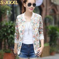 Plus Size XXXL Spring Autumn Fashion Baseball Floral Jacket Women Ditsy Print…