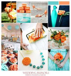 teal/orange wedding