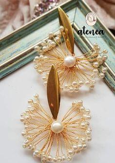 Wire Jewelry Designs, Handmade Wire Jewelry, Jewelry Design Earrings, Ear Jewelry, Bead Jewellery, Diy Earrings, Bridal Jewelry, Beaded Jewelry, Diy Hair Accessories Bridal