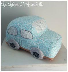 """Doudou/coussin voiture """"Dodoche"""" esprit vintage ou rétro bleu"""