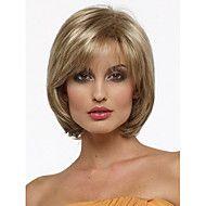 Femme Perruque Synthétique Sans bonnet Court Raide Blond Partie latérale Coupe Carré Avec Frange Perruque Halloween Perruque de carnaval