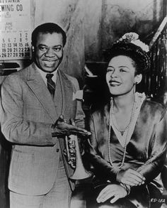 Louis Armstrong & Billie Holiday on the set of Arthur Lubin's New Orleans (1946)