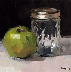 "Daily Paintworks - ""Apple and Small Mason Jar"" - Original Fine Art for Sale - © David Lloyd Smith Small Paintings, Beautiful Paintings, Apple Art, Still Life Oil Painting, Fruit Painting, Still Life Art, Art Graphique, Vanitas, Painting & Drawing"