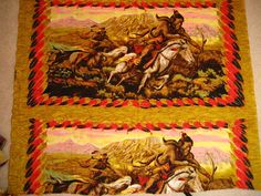 Vintage Barkcloth Type Fabric with Screenprinted Native American Horse and Feather Design