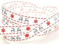 Red, White & Grey Reindeer Print Wired Ribbon for Christmas Crafts - 20 metre roll Preview