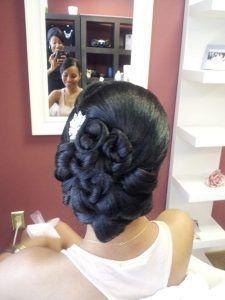 Bridal Hair Style vintage updo clean updo African American bridal hair big s – Bridal Hair Updos Black Wedding Hairstyles, Hairdo Wedding, Wedding Hair And Makeup, Bride Hairstyles, Hair Makeup, Black Hairstyles, Vintage Hairstyles, Bridal Updo, Hairstyles Pictures