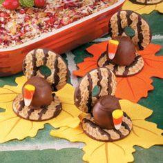 Turkey Cookies   Ingredients:  40 fudge striped cookies  1/4 cup chocolate frosting  two 5 oz. Pkgs. Chocolate covered cherries  20 pieces of candy corn