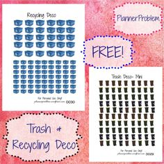 Free printable and custom planner stickers including free functional and decorative stickers as well as free kits and samplers! Free Planner, Happy Planner, Printable Planner Stickers, Free Printables, Custom Planner, Planner Organization, Creations, Planners, Recycling
