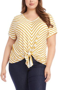 Karen Kane Plus Size Short Sleeve Tie Front Stripe Knit Top. Fashioned in classic stripes, this top by Karen Kane is accented with a cute tie-front detail. Women's Plus Size Shorts, Tied Shirt, Cowl Neck Top, Karen Kane, Front Tie Top, Striped Knit, Plus Size Women, Clothes, Stripes