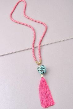 Pretty in Pink Tassel Necklace