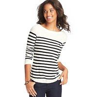 Ann Taylor Loft: Striped Long Sleeve Cotton Tee - The ultimate boatneck boasts skinny stripes and a tomboy cute attitude – in effortlessly soft cotton. Banded neckline. Long sleeves.