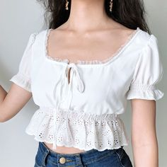 The Ilusm Top is cut from a delicate cotton silk blend and features puff sleeves and a ruffled hem for a sweet finished. Exposed shoulder straps lend a lingerie-inspired touch. Harajuku, Summer Outfits, Cute Outfits, Winter Outfits, 90s Fashion, Fashion Trends, Aesthetic Fashion, Chiffon Tops, Sexy