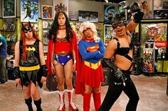 The gang lost a bet and had to dress as female superheroes! Yes, that's Batgirl, Wonder Woman, Supergirl and Cat Woman. Awesome!