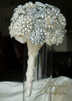 Diamond and Pearl Wedding Centerpieces   Custom made bouquet the used the lace from a grandmothers veil and ...