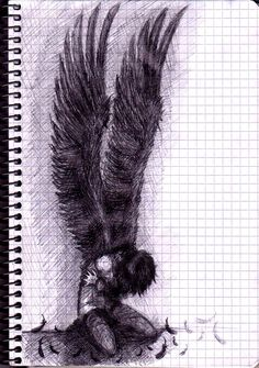 this reminds me of Hush,Hush ~Wings Drawing Sketches, Cool Drawings, Drawing Ideas, Angel Drawing, Angel Sketch, Wings Sketch, Dark Art, Love Art, Art Reference