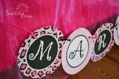 Pajama Glam leopard print printable party banner by Sunnybydesign, $7.00