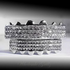 *2ND* ICED OUT PLATINUM SILVER STYLE GRILLZ SET!! TOP/BOTTOM HIPHOP TEETH GRILLS! Buy now from ebay seller: wholesale_grillz and follow us wholesale grillz