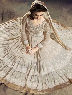 Off White Zari Embroidered Long Anarkali Style Salwar Suit