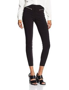 10 (Manufacturer Size:10 Regular), Black, New Look Women's Zip Bengaline Legging