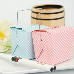 Gingham Blue and Pink Chinese Takeout Boxes by Beau-coup