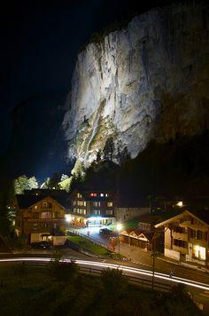 Staubbach Falls By Night... Staubbach Falls Lauterbrunnen, Switzerland.