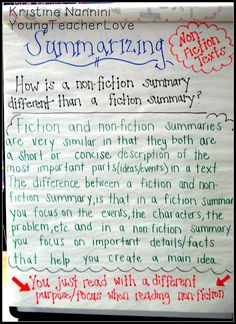 summarizing non-fiction texts {anchor chart}