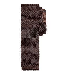 Dot Knit Slim Tie Brown
