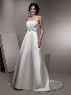 Fashionable strapless empire waist satin wedding dress