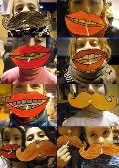 mouths and mustaches, stick a sucker through them - wonderful last-day art project!