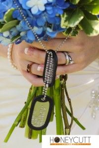 For a military wedding---wrap dog tags around bride& bouquet of flowers. Fall Wedding Bouquets, Wedding Flower Arrangements, Bride Bouquets, Flower Bouquet Wedding, Flower Bouquets, Wedding Centerpieces, Floral Arrangements, Army Wedding, Military Weddings