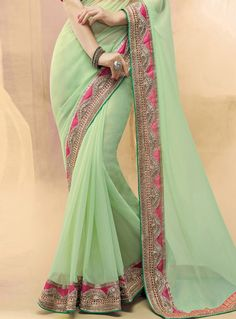 Buy Sea Green Georgette Festival Wear Saree 100828 with blouse online at lowest price from vast collection of sarees at m.indianclothstore.c.