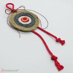 Κόκκινο Boho γούρι με σχοινί και κεραμικό μάτι Boho, Crochet Earrings, Jewelry, Jewlery, Jewerly, Schmuck, Bohemian, Jewels, Jewelery