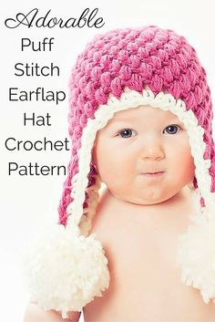 This super cute crochet pattern makes and earflap hat that is sure to turn heads! It features a fun crochet stitch called the puff stitch, and BIG pom-pom embellishments. The pattern includes 6 sizes that range from newborn to adult!