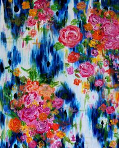 """Southern Charm"", Large Floral Abstract Painting Navy Blue by BluePoppyDesign"