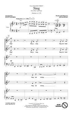 """""""Sing"""" by Joe Raposo/arr. Zegree. A cool walking bass line, a hip, easy swing feel, and fun scat lyrics make this arrangement of Joe Raposo's """"Sesame Street"""" song an ideal choice for younger choirs. """"Don't worry that it's not good enough for anyone else to hear, just sing! Sing a song!"""" The second graders and the audience loved this classic set to jazz."""