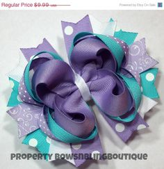 lavender and turquoise hair bow