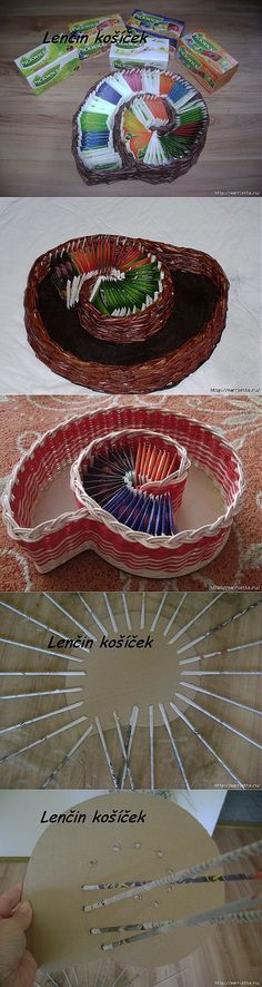 Weaving from newspapers. Vase SNAIL for tea bags Newspaper Basket, Newspaper Crafts, Paper Weaving, Weaving Art, Willow Weaving, Basket Weaving, Diy Paper, Paper Art, Recycled Crafts
