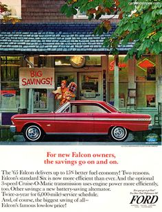1965 Ford Falcon - For New Falcon owners, the savings go on and on - Original Ad