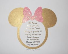 Minnie Mouse Invitation  Pink and Gold Minnie by ExclusiveAllure