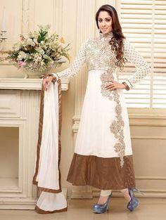 f510cb04b3 White georgette semi stitched long anarkali suit by fabfiza
